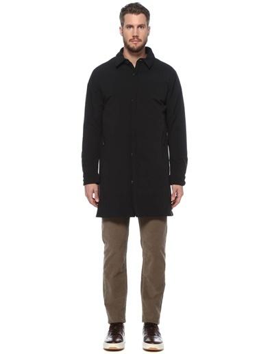 Beymen Collection 101520975 Polo Yaka Uzun Kol Gizli Düğme Kapatmalı Thermal Özellikli Erkek Pardösü Siyah